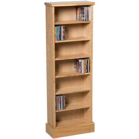 Waverly Oak CD Storage Rack in Light Oak Finish 238 CDs | Solid Wooden Shelving Tower / Holder / Stand / Unit with 7 Shelves