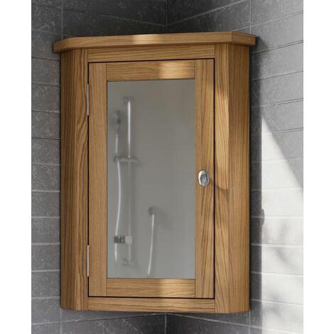 Waverly Oak Corner Bathroom Cabinet in Light Oak Finish | Solid Wooden Wall Mounted Storage Mirror Cupboard