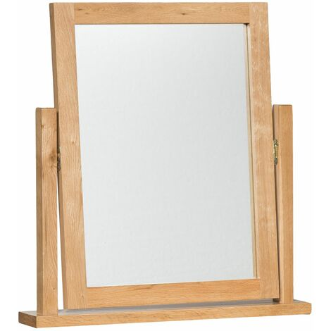 Waverly Oak Dressing Table Mirror in Light Oak Finish | Solid Wooden Trinket / Makeup / Frame Vanity Mirror