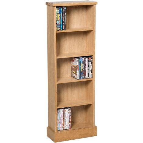Waverly Oak DVD CD Storage Rack in Light Oak Finish 120 DVDs | Solid Wooden Shelving Tower / Holder / Stand / Unit with 5 Shelves