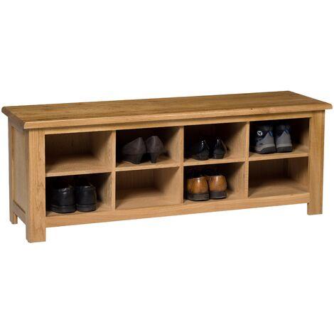 Waverly Oak Hallway Shoe Storage Bench in Light Oak Finish 8 Pairs | Solid Wooden Organiser / Cabinet / Stand /Cupboard