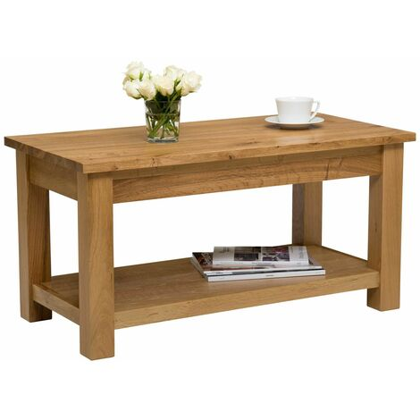 Waverly Oak Large Coffee Table with Shelf in Light Oak Finish 90cm   Solid Wooden Rectangular TV Stand   Lounge Storage
