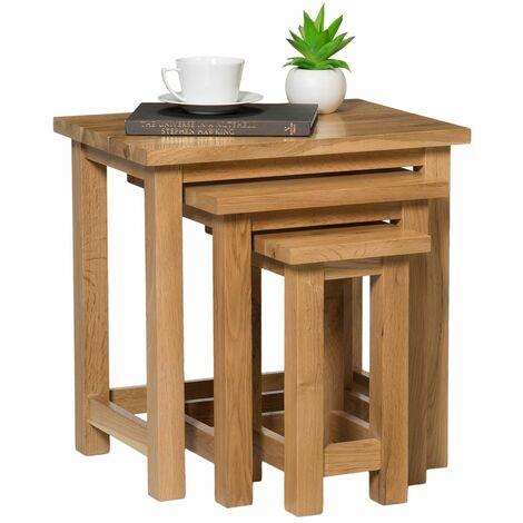 Waverly Oak Nest of Tables in Light Oak Finish | Solid Wooden Side / End / Lamp Nesting Tables Set