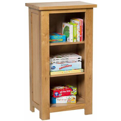 Waverly Oak Small Bookcase in Light Oak Finish | 3 Shelf Storage Low Bookshelf | Solid Wooden Bookshelves Unit