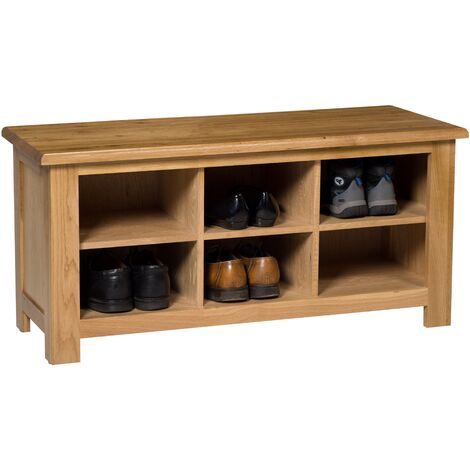"""main image of """"Waverly Oak Small Hallway Shoe Storage Bench in Light Oak Finish 6 Pairs 