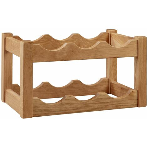 Waverly Oak Wine Rack in Lacquered Finish Holds 6 Bottles | Wooden Wine Rack Table Storage