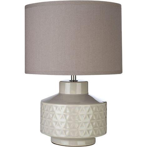 Waverly Table Lamp, Grey Ceramic, Grey Fabric Shade