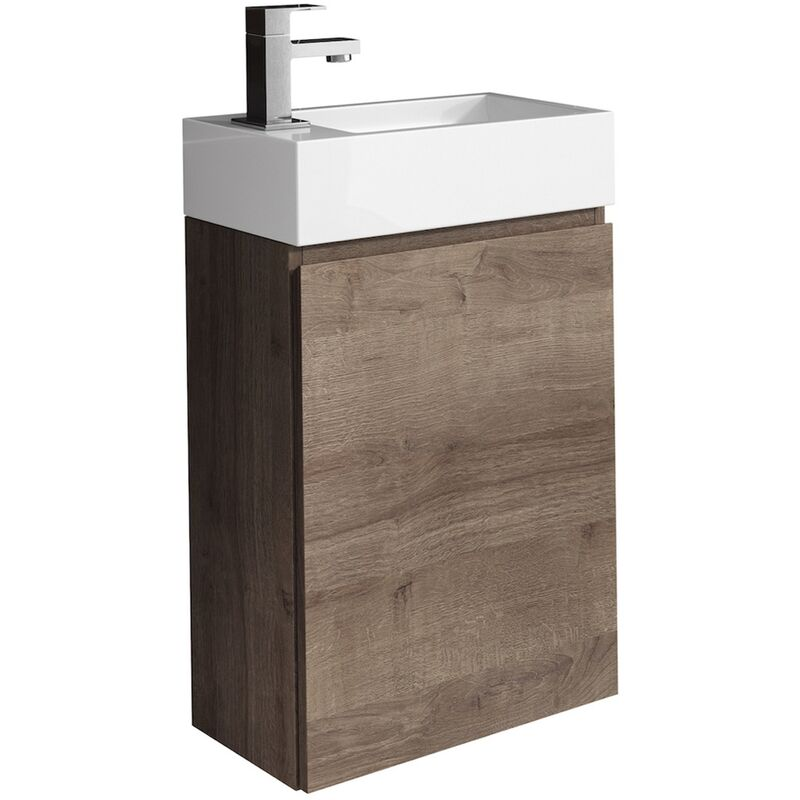 WC Badmöbel Angela 40x22 cm braun eiche - Schrank Waschbecken Badezimmer Toilette - BADPLAATS