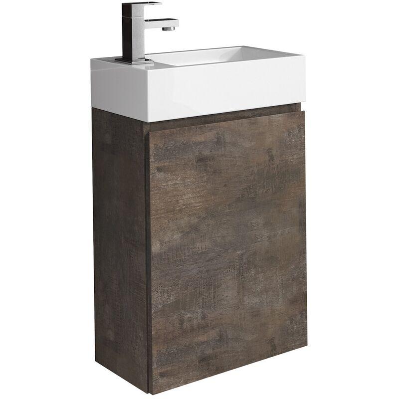 WC Badmöbel Angela 40x22 cm Stone ash - Schrank Waschbecken Badezimmer Toilette - BADPLAATS