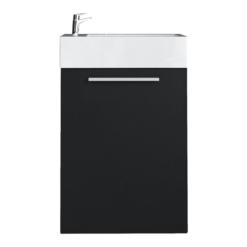 WC Badmöbel Athene 40x22 cm schwarzes holz - Schrank Waschbecken Badezimmer Toilette - BADPLAATS