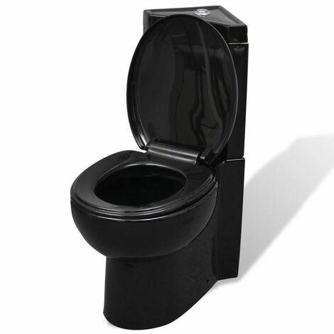 WC Ceramic Toilet Bathroom Corner Toilet Black VDTD03836