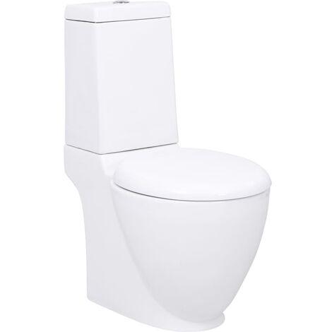 WC Ceramic Toilet Bathroom Round Toilet Bottom Water Flow White - White