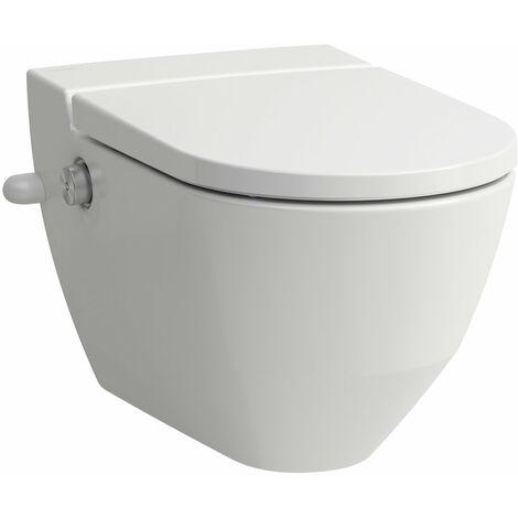 WC de douche Navia Cleanet, lavable 4,5/3 litres, sans chasse d'eau, 37x58 cm, avec ouverture latérale pour raccordement d'eau extérieur 19,5 cm, Coloris: blanc mat - H8206017577171