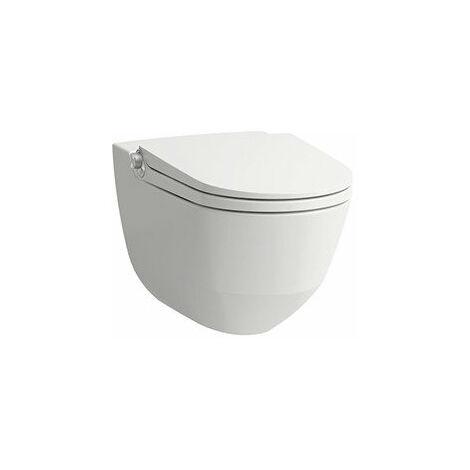 WC de ducha Running Cleanet Riva, Flushless, de pared, mando a distancia, asiento de WC con tapa, color: Blanco con LCC - H8206914000001