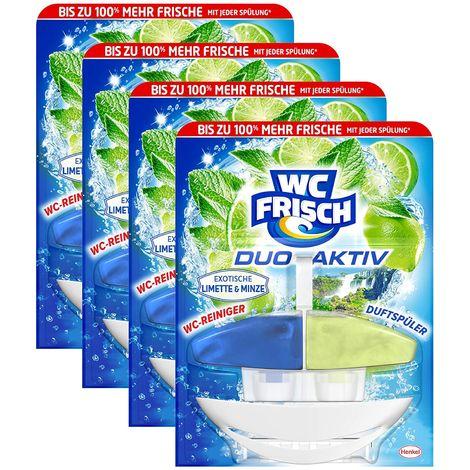 WC FRISCH Duo-Aktiv 4er Pack Exotische Limette & Minze WC-Reiniger 4x1 Stück