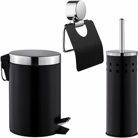 WC Garnitur, 3-tlg. - WC Bürstengarnitur, WC Garnitur Set, Toilettengarnitur - schwarz