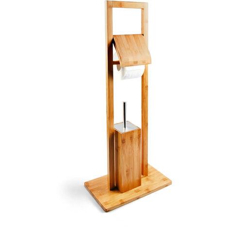 WC Garnitur aus Bambus, HBT: 82 x 36 x 21 cm, Standgarnitur mit Toilettenbürste und Klorollenhalter, Toilettenpapierhalter, natur