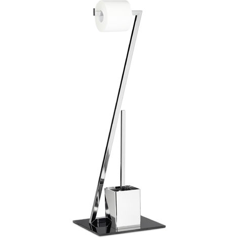 WC Garnitur GLASS H x B x T: 77 x 25 x 25 cm Toilettenpapierhalter aus Glas und Metall in Edelstahl-Optik mit Klobürste als Klopapierhalter freistehend WC Bürstengarnitur, silber-schwarz