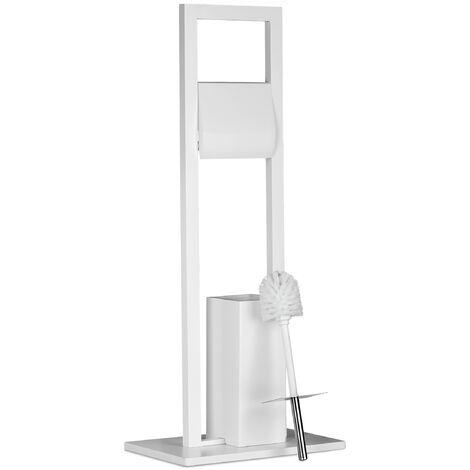 WC Garnitur, Klobürste, Klopapierhalter, Toilettenbürste, Toilettenpapierhalter, Bambus, HBT 82x36x21 cm, weiß