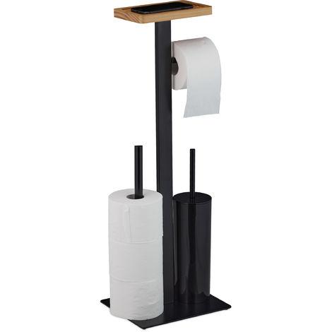 WC Garnitur mit Ablage, modernes Design, Toilettenpapieraufbewahrung, Bürstenhalter, HBT 73x25x20 cm, schwarz