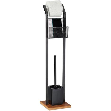 WC-Garnitur mit Ablage, Papierhalter, WC-Bürste, Bürstenhalter, quadratischer Fuß, Holzoptik, H 78 cm, schwarz