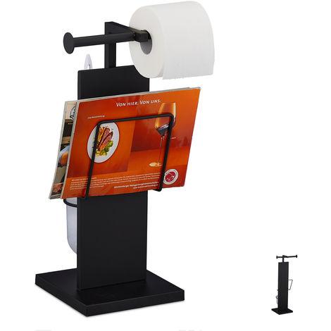 WC Garnitur, mit Klobürste, Klorollenhalter, Zeitungshalter, stehend, Metall, HBT 48,5 x 25,5 x 20 cm, schwarz