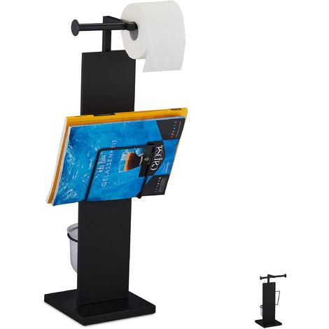 WC Garnitur, mit Klobürste, Klorollenhalter, Zeitungshalter, stehend, Metall, HBT 70 x 25,5 x 20 cm, schwarz