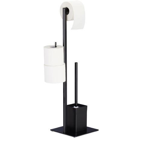 WC Garnitur mit Toilettenpapierhalter, stehend, für Bad, HBT: 72 x 25 x 20 cm, Stand Klobürstenhalter, schwarz