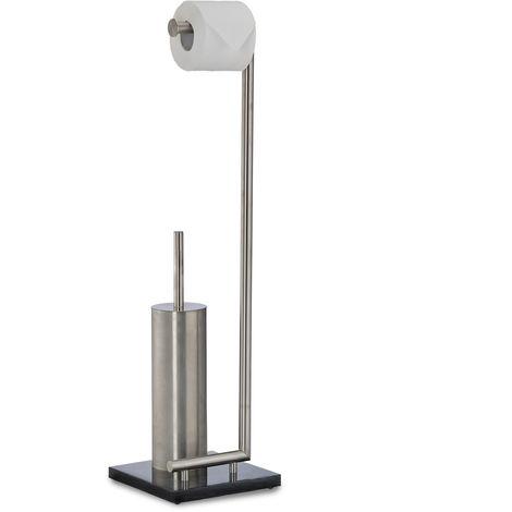 WC Garnitur PIERRE, Klopapierhalter, Toilettenbürste, Marmor, freistehend, HxBxT: 75 x 20 x 20 cm, schwarz