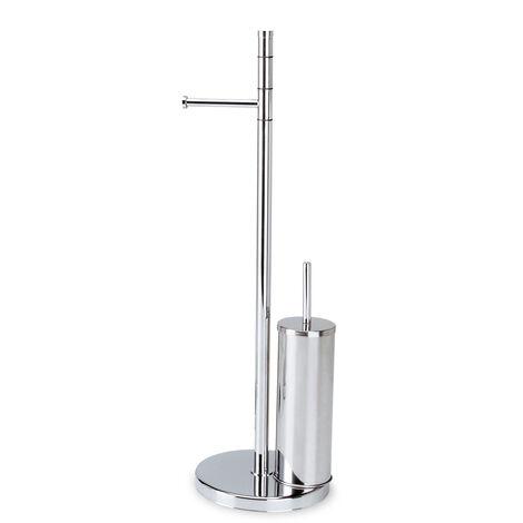 WC-Garnitur Toilettenpapierhalter und Klobürstenhalter in Stahl Mod. Wind