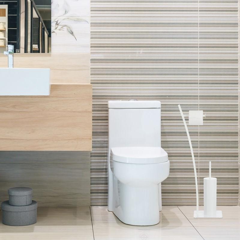 HxBxT: 78x29x20 cm Toilettenpapierhalter Relaxdays WC-Garnitur wei/ß White hygienisch WC-B/ürste WC-B/ürstenhalter
