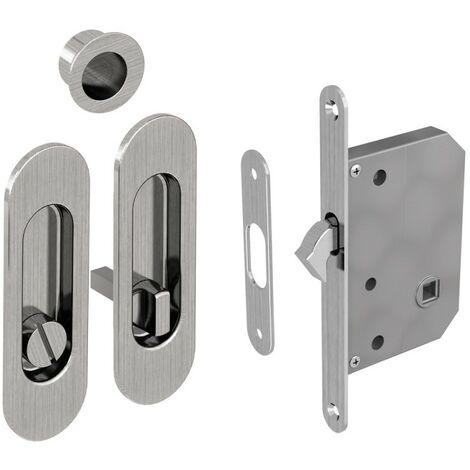 WC Hakenschloss Set für Schiebetüren, ovale Türrosette mit Griffmulde, Badezimmerschloss, Einsteckschloss, Nickel gebürstet
