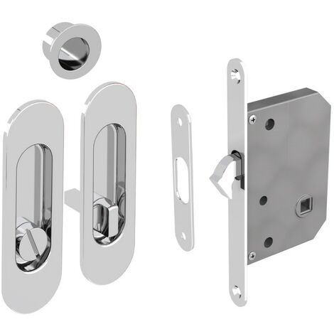 WC Hakenschloss Set für Schiebetüren, ovale Türrosette mit Griffmulde, Badezimmerschloss, Einsteckschloss, silber verchromt