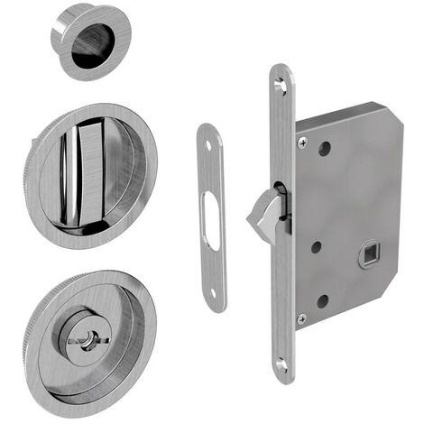 WC Hakenschloss Set für Schiebetüren, runde Türrosette mit Griffmulde, Badezimmerschloss, Einsteckschloss, Nickel gebürstet
