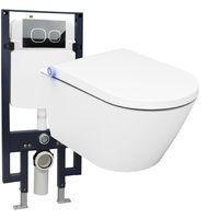 WC lavant BERNSTEIN Basic offre spéciale pack économique 19 - bâti-support G3008 avec plaque de déclenchement à choix