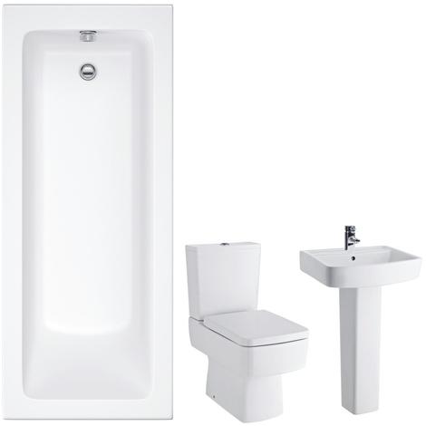 WC mit Spülkasten, Waschbecken mit Sockel und ...