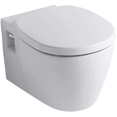 WC mural Ideal Standard Connect compact, fixation invisible E1217, Coloris: Blanc avec Idéal Plus - E1217MA