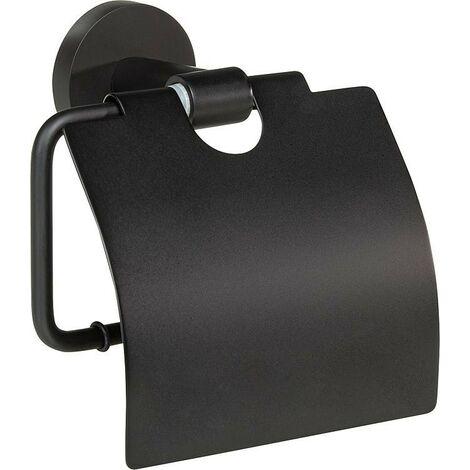 WC-Porte rouleau Eldrid nero laiton, noir, avec couvercle fixation incluse