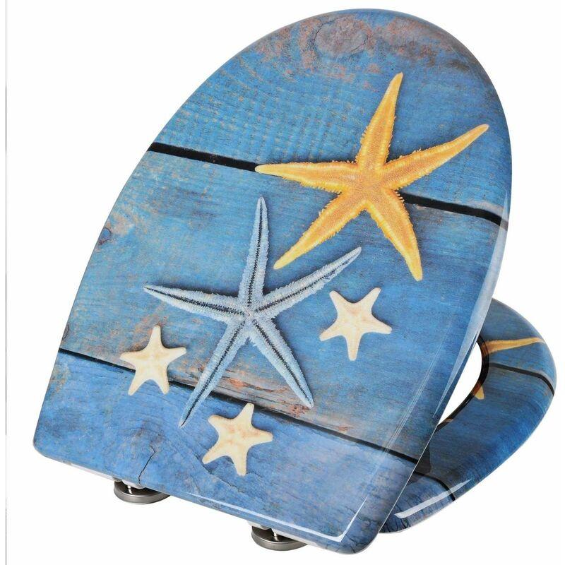 Mercatoxl - MercartoXL WC siège Thermodurcissable bleu étoiles de mer avec fermeture en douceur et de fixation rapide UIY