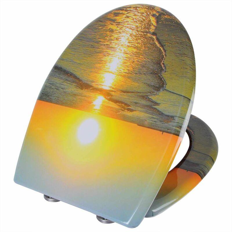 Mercatoxl - MercartoXL WC siège Thermodurcissable lever du soleil avec fermeture en douceur et de fixation rapide