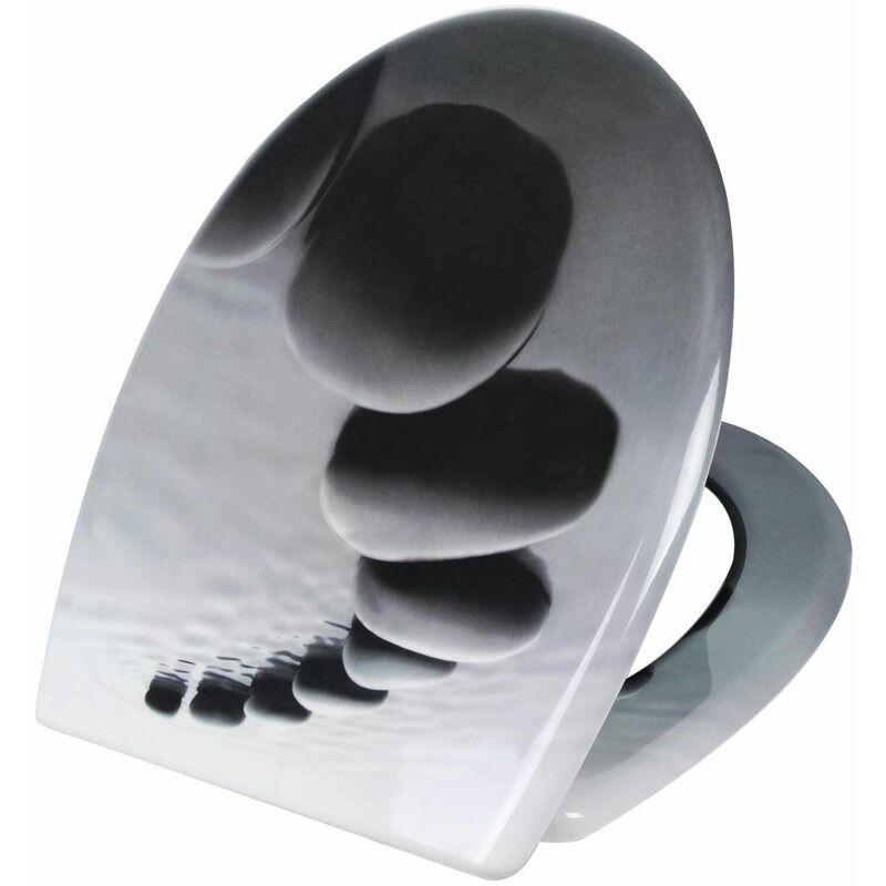 Mercatoxl - MercartoXL WC siège Thermodurcissable pierres noires avec fermeture en douceur et de fixation rapide en 2499