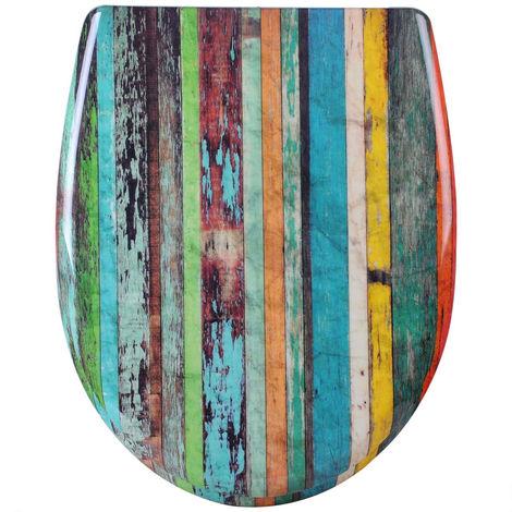 WC-Sitz aus Duroplast Mehrfarbig Retro mit Absenkautomatik & Schnellbefestigung