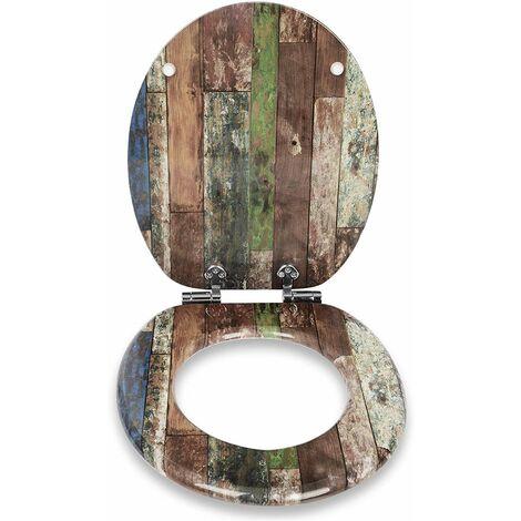WC-Sitz aus MDF, mit Absenkautomatik, bunte gestreift