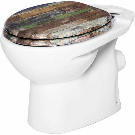 WC-Sitz aus MDF, mit Absenkautomatik, bunte gestreift t
