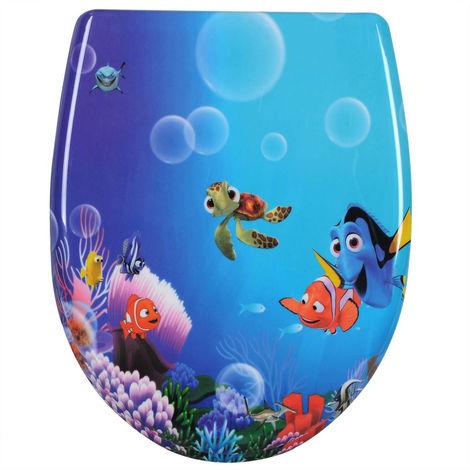WC-Sitz Duroplast Goldfisch Cartoon mit Absenkautomatik und Schnellbefestigung