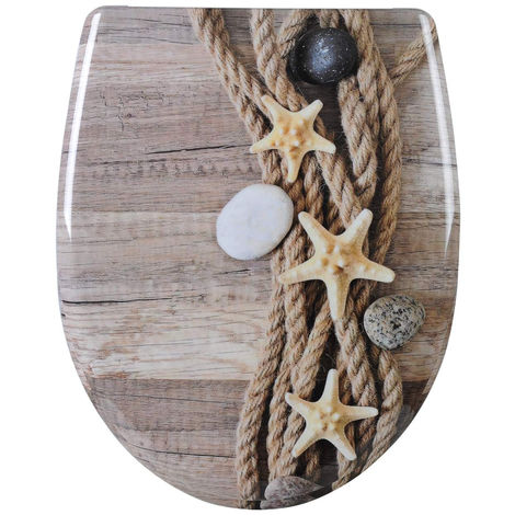 WC-Sitz Duroplast hemp rope starfish mit Absenkautomatik und Schnellbefestigung