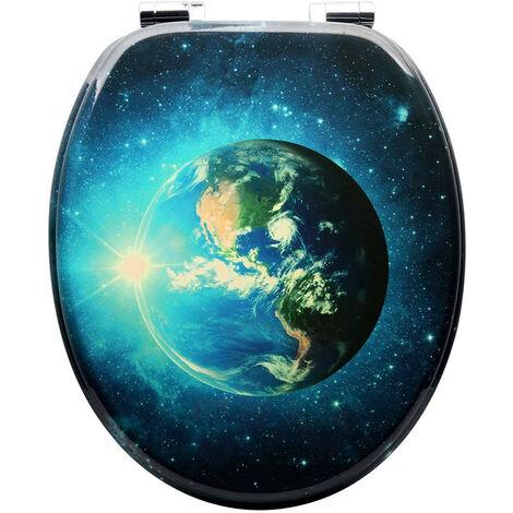 WC-Sitz mit Absenkautomatik aus MDF Motiv Erde