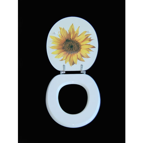 WC SITZ TOILETTENDECKEL KLODECKEL BAD WC DECKEL MIT ABSENKAUTOMATIK WHITE FLOWER