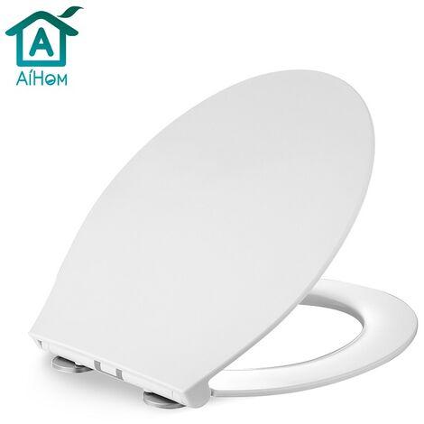 Wc Sitz weiß Toilettendeckel mit Quick-Release-Funktion und Softclose Absenkautomatik Klodeckel Antibakterielle Klobrille aus Duroplast und rostfreiem Edelstahl abnehmbar.(Klassisch)