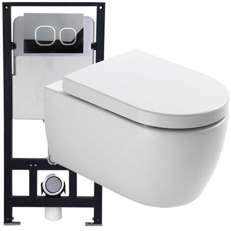 WC-Sparpaket 1: WC NT2038 und Soft-Close Sitz mit Vorwandelement G3004A und Betätigungsplatte vorne